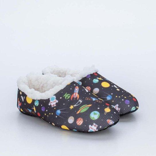 Sapatilha Meia Infantil Socks Fun Preta Galáxia c - Preto