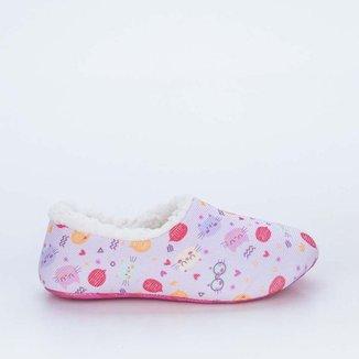 Sapatilha Meia Infantil Socks Fun Rosa Gatinho co