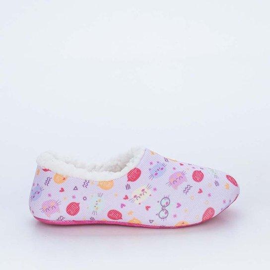 Sapatilha Meia Infantil Socks Fun Rosa Gatinho co - Rosa