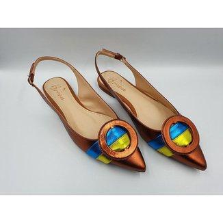 Sapatilha Slingback em Couro Multicolor Le scarpe di Bruna -