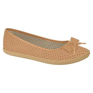 Sapato Alpargatas Casual Feminino Nobuck Microperfuros com Laço Moleca 5287.270