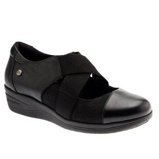 Sapato Anabela Doctor Shoes Esporão Couro 7879 Preto
