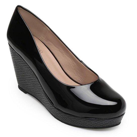 Sapato Anabela Sense Bella Feminino - Preto