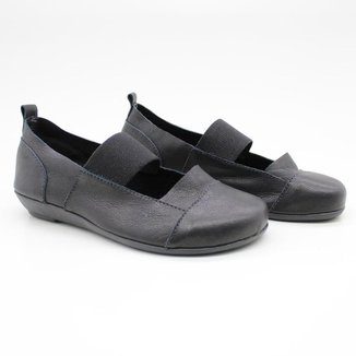 Sapato Boneca Feminino Liso Couro Leve Elástico Conforto