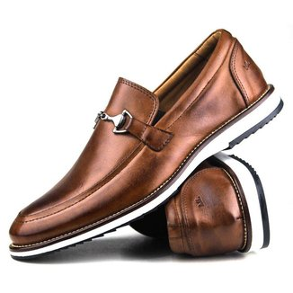 Sapato Casual Brogue Premium Social Detalhes Fivela Couro