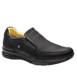 Sapato Casual Doctor Shoes com Bolha de Ar System Anti Impacto Couro 2139 Preto
