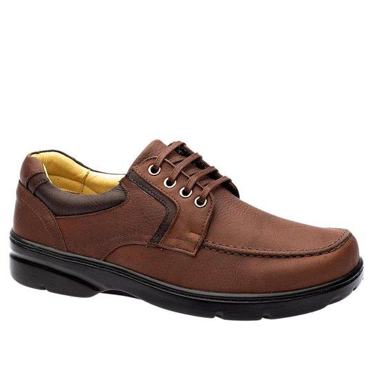 Sapato Casual Doctor Shoes Diabético Couro 5311 Café - Cinza