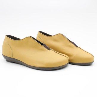 Sapato Casual Feminino Liso Couro Leve Fenda Elástico
