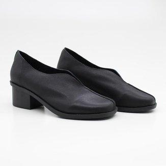 Sapato Casual Feminino Salto Bloco Fenda Bico Arredondado