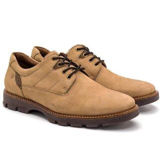 Sapato Casual Masculino Couro Cadarço Conforto Dia a Dia