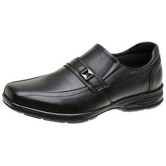 Sapato Casual Masculino De Couro Linha Comfort Antistress Preto 5040