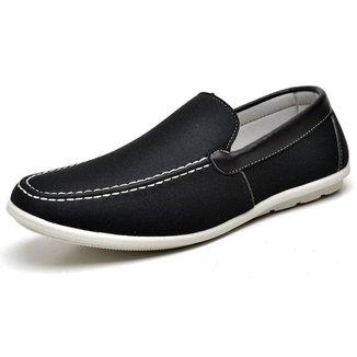 Sapato Casual Mocassim Derradeiros Em Lona Bege Anatomico