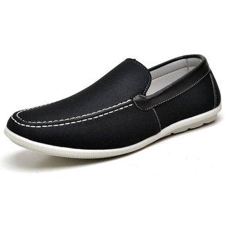 Sapato Casual Mocassim Vossavest Em Lona Preto Sola Em Borracha