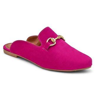Sapato Casual Mule Feminino Rasteiro Aveludado Rosa