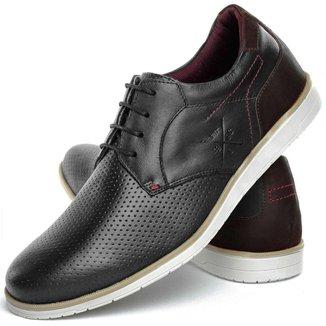Sapato Casual Oxford Maculino Confort Nobuck Preto Couro