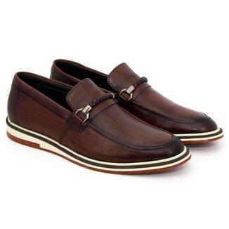 Sapato Casual Social Masculino Em Couro Pinhão