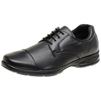 Sapato Casual Social Masculino Preto De Couro Linha Conforto Antistress 5051