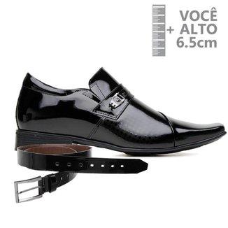 Sapato Com Salto Interno Jota Pe Verniz Preto Air + Cinto 79607