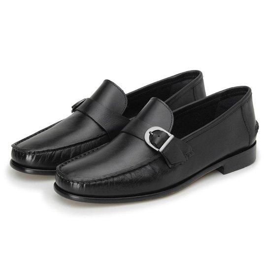 Sapato Couro Roma Shoes Mocassim Fivela Argentino - Preto