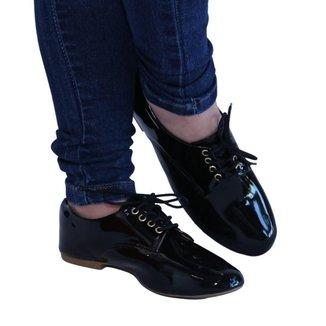 Sapato feminino preto bico redondo Sapato Oxford preto bico redondo