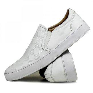 Sapato Iate Casual Masculino Xadrez Confort Couro