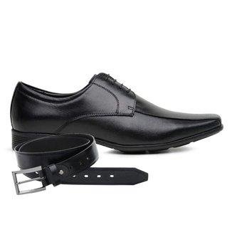 Sapato Jota Pe Couro Preto Air + Cinto 77500