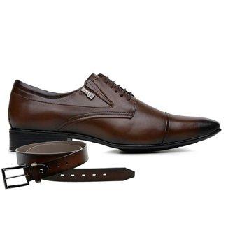Sapato Jota Pe Marrom Couro Air + Cinto 40115