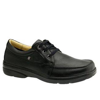 Sapato Masculino Esporão em Couro Floater Preto 5308 Doctor Shoes