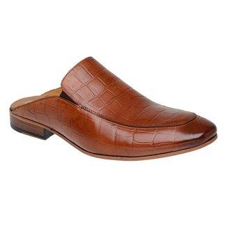 Sapato Masculino Slipper Mule Malbork Couro Croco Whisky 5845