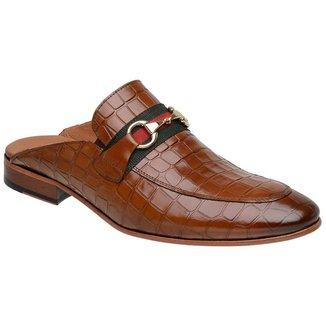 Sapato Masculino Slipper Mule Malbork Couro Croco Whisky 5850