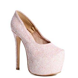 Sapato Meia Pata Feminino Salto Fino Zariff Com Brilho Rosa
