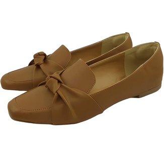 Sapato Mocassim Donatella Shoes Bico Quadrado Confort Nó