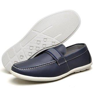 Sapato Mocassim Masculino Azul Sola Branca Lucilena CalCados