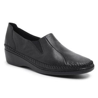 Sapato Ortopédico Feminino Couro Confortável Macio Dia a Dia