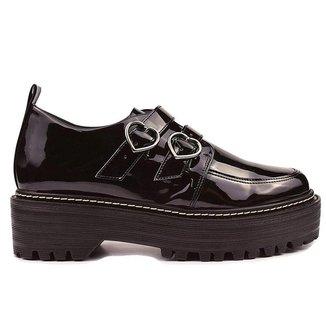 Sapato Oxford Verniz Preto Tratorado Corações - Hanna Carmela