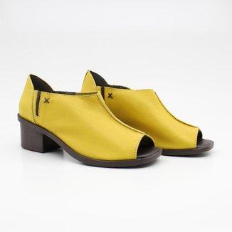 Sapato Peep Toe Feminino Couro Salto Bloco Elástico Casual
