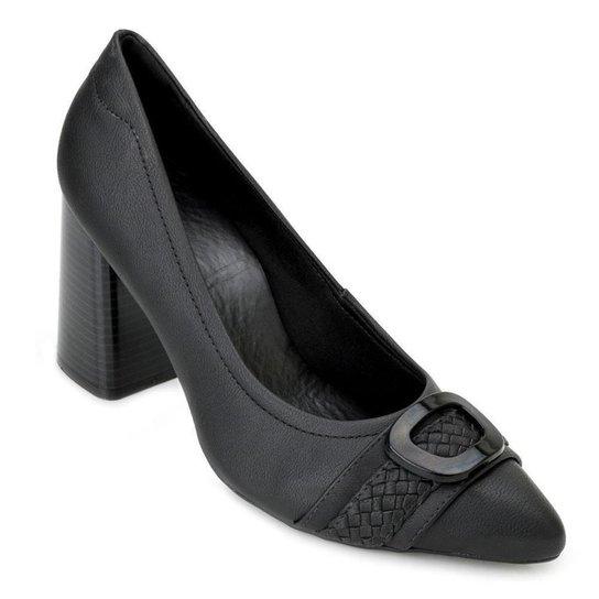 Sapato Salto Bloco Sense - Preto