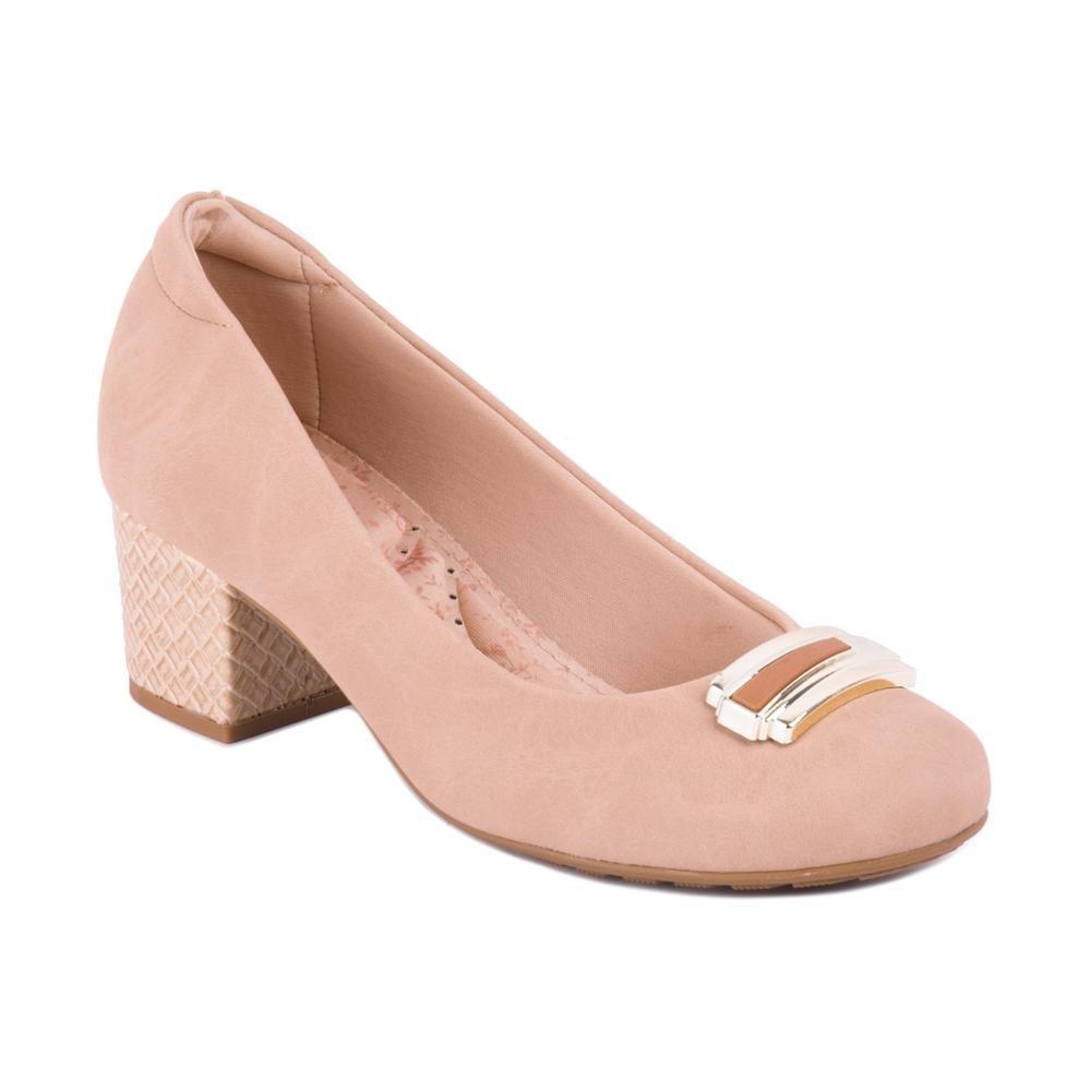 c2a51a9ac1 Sapato Salto Grosso Com detalhe Em Metal - Modare