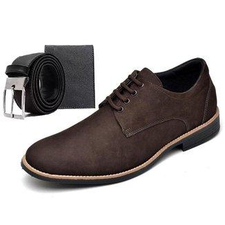 Sapato Social Masculino Esporte Fino Marrom Com Brindes Carteira E Cinto Go Well Shoes