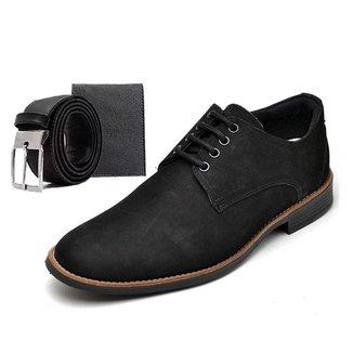 Sapato Social Masculino Esporte Fino Preto Com Brindes Carteira E Cinto Go Well Shoes
