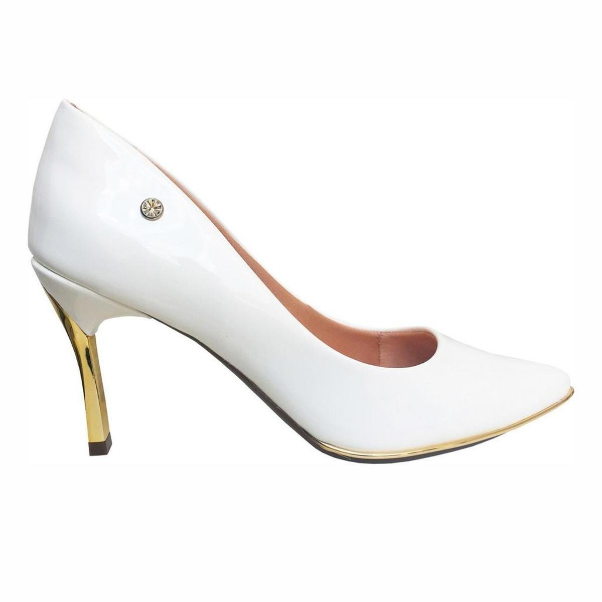 Branco Verniz 15 cm DOMINA 420 Sapatos Scarpin Stiletto
