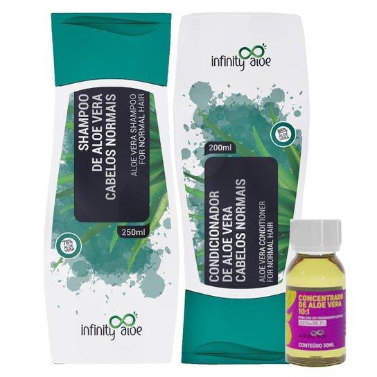 Shampoo Aloe Vera + Condicionador Aloe Vera + Concentrado Capilar de Aloe Vera Babosa -
