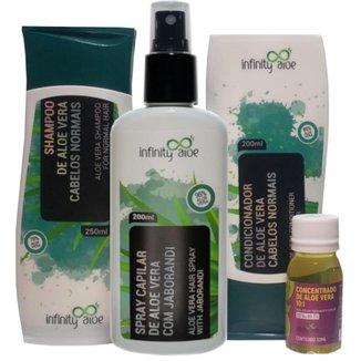 Shampoo + Condicionador + Concentrado Capilar Aloe Vera  + Spray Capilar de Aloe Vera e Jaborandi