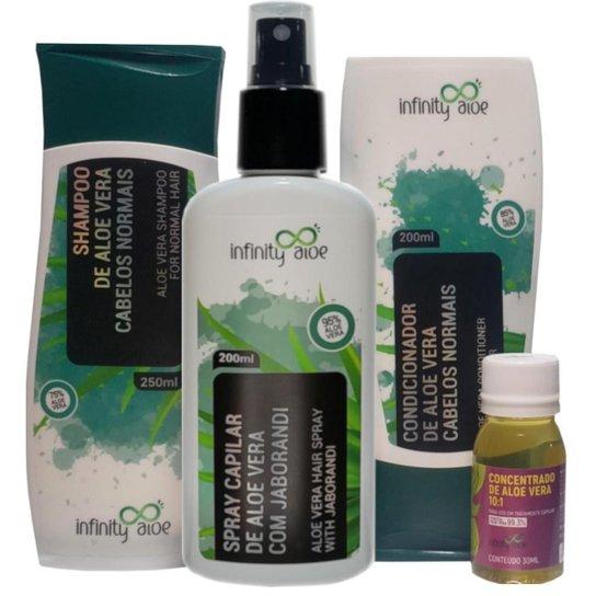 Shampoo + Condicionador + Concentrado Capilar Aloe Vera  + Spray Capilar de Aloe Vera e Jaborandi -