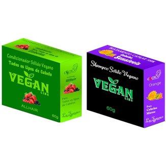 Shampoo Sólido Calêndula  + Condicionador Solido Frutas Vermelhas Vegan Line-