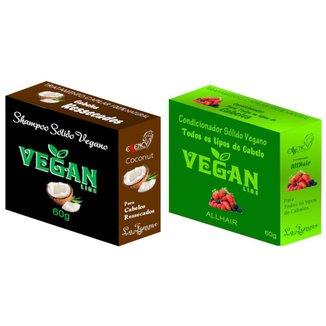 Shampoo Sólido Coco + Condicionador Solido Frutas Vermelhas Vegan Line-