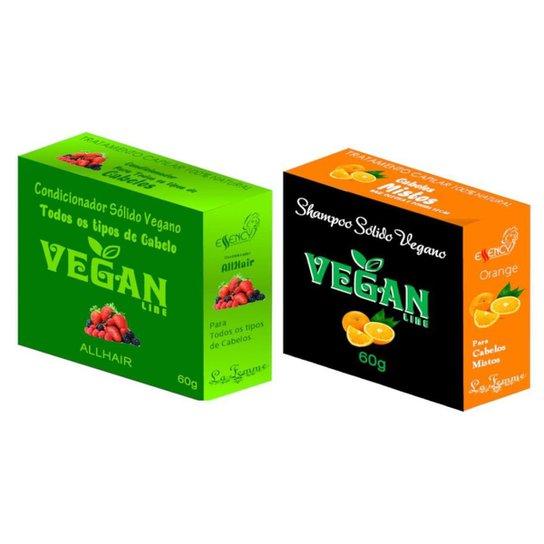 Shampoo Sólido laranja + Condicionador Solido Frutas Vermelhas Vegan Line -