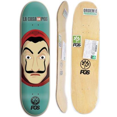 Shape para Skate Profissional PGS TV Serie La Casa 7.8 + lixa grátis - Unissex