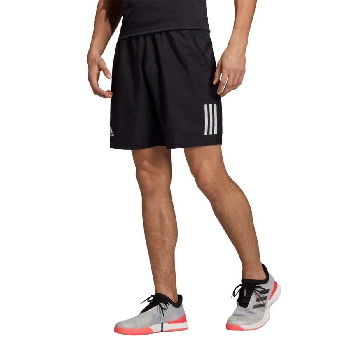 Short Adidas Club 3 Stripes Masculino Preto e Branco