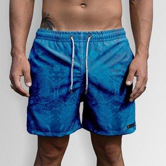 Short Bermuda Jon Cotre Flor Azul Masculino